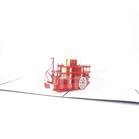 STEAM BOAT-3D CARD/POPUP/BIRTHDAY CARD