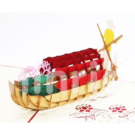 LOTUS PICKING BOATING-3D CARD/POPUP/CONGRATULATIONS CARD/ GREETING CARD