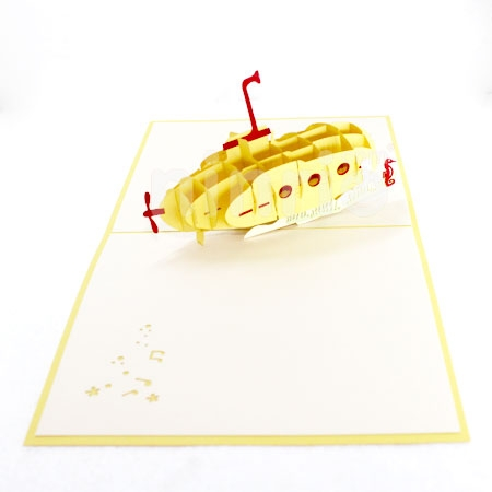 GROOVY YELLOW SUBMARINE-3D CARD/POPUP/CONGRATULATIONS CARD