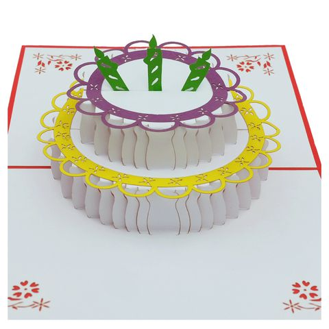 BIRTHDAY CAKE 3 CANDLES-3D CARD/POPUP/BIRTHDAY CARD/CONGRATULATION CARD