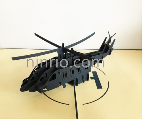BLACK HAWK HELICOPTER-3D CARD/POPUP/GREETING CARD/ SPORT CARD