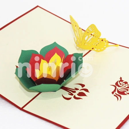 BUTTERFLY FLOWERS 3-3D CARD/POPUP CARD/LOVE AND WEDDING CARD