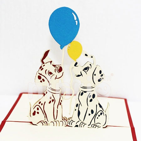 SPOTTED DOGS-3D CARD/POPUP/BIRTHDAY CARD