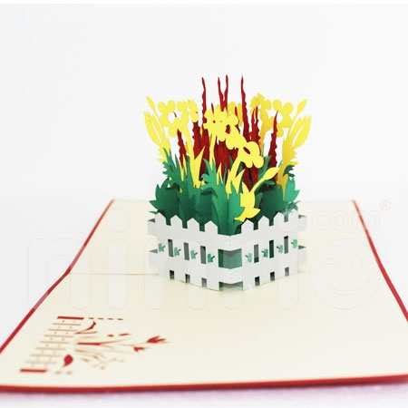 FLOWER GARDEN-3D CARD/POPUP/CONGRATULATIONS CARD