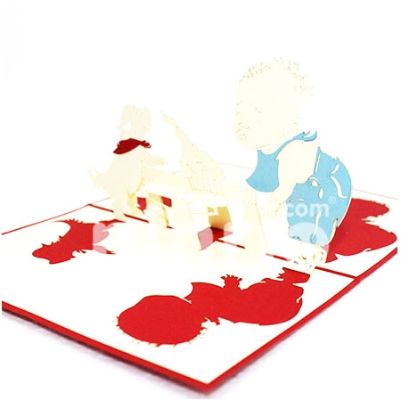 BIRTHDAY BABY AND DOG-3D CARD/POPUP/BIRTHDAY CARD/ GREETING CARD/ CONGRATULATION CARD