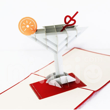 COCKTAI-3D CARD/POPUP/CONGRATULATIONS CARD/ GREETING CARD