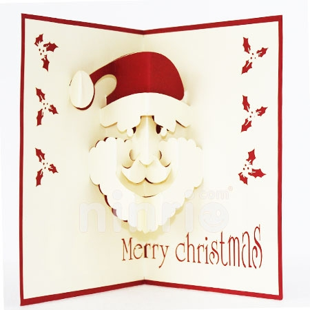 SANTA-FACE/3D CARD/POPUP CARD/CHRISTMAS CARD