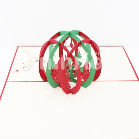 CHRISTMAS BALL-3D CARD/POPUP CARD/CHRISTMAS CARD