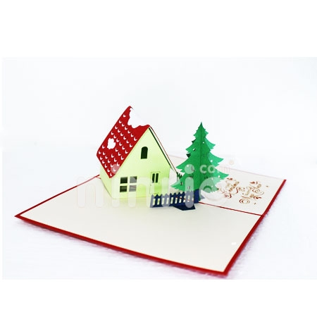 CHRISTMAS HOUSE-3D CARD/POPUP CARD/CHRISTMAS CARD