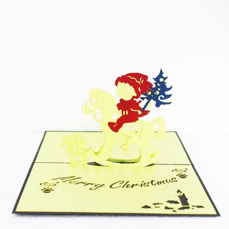 CHRISTMAS HORSE-3D CARD/POPUP CARD/CHRISTMAS CARD
