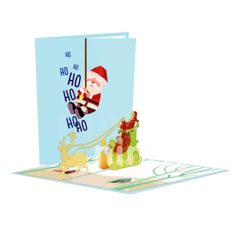 SANTA CLAUS 3D POP UP CHRISTMAS CARD GREETING CARD FOR HOLIDAY