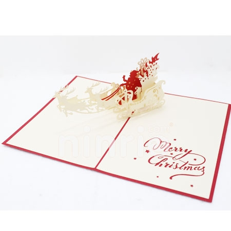 SANTA 5-3D CARD/POPUP CARD/CHRISTMAS CARD