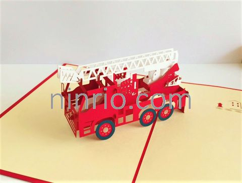 Fire Truck - 3D Pop up Card/ Birthday Card/ Congratulation Card