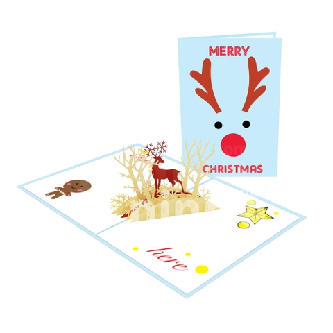 REINDEER 3D POP UP CHRISTMAS CARD GREETING CARD FOR HOLIDAY