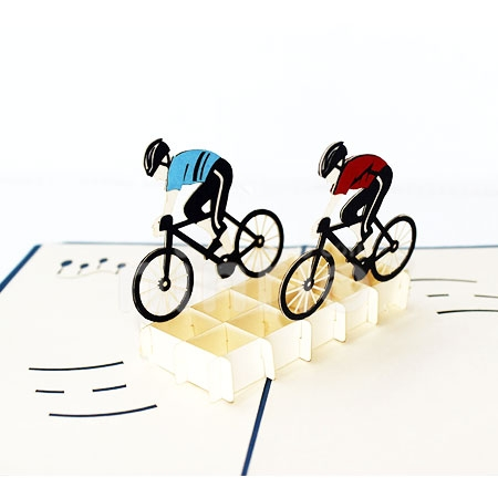 CYCLIST-3D CARD/POPUP/SPORT CARD/GREETING CARD/BIRTHDAY CARD