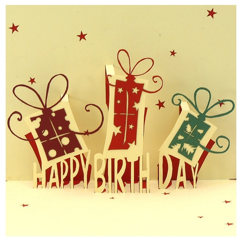 BIRTHDAY PRESENTS-3D CARD/POPUP/BIRTHDAY CARD/ GREETING CARD./ CONGRATUALTION CARD.