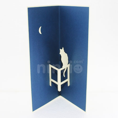 CAT MOON-3D CARD/POPUP/BIRTHDAY CARD