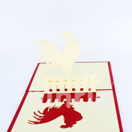CHICKEN FENCE-3D CARD/POPUP/BIRTHDAY CARD