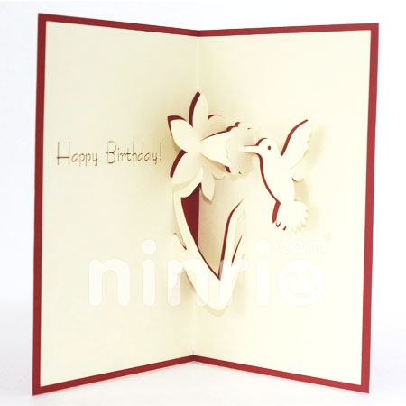 BIRTHDAY HUMMINGBIRDS-3D CARD/POPUP CARD/BIRTHDAY CARD