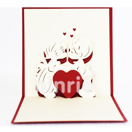 KISS 1-3D CARD/POPUP CARD/LOVE AND WEDDING CARD