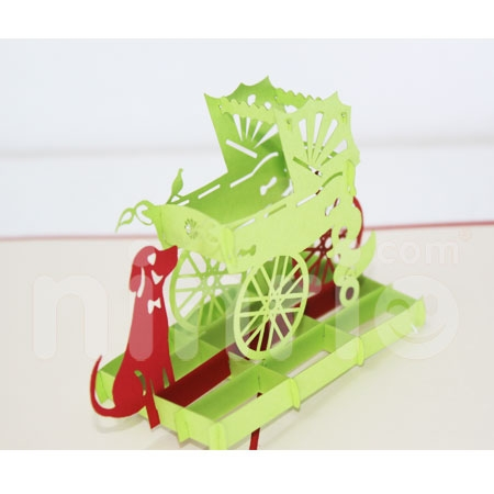 CHILDREN TROLLEYS 2-3D CARD/POPUP/CONGRATULATIONS CARD