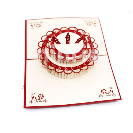 BIRTHDAY CAKE 3 CANDLES-3D CARD/POPUP/BIRTHDAY CARD