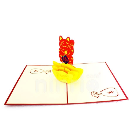 JAPAN CAT-3D CARD/POPUP/CONGRATULATIONS CARD
