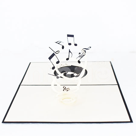 FLYING MUSIC NOTE-3D CARD/POPUP/CONGRATULATIONS CARD