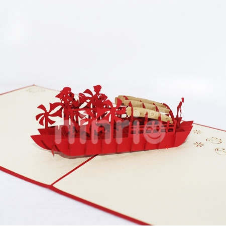 COUPLE ON BOAT-3D CARD/POPUP CARD/LOVE AND WEDDING CARD