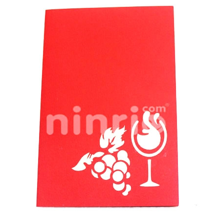 WINE GLASS--3D CARD/POPUP/CONGRATULATIONS CARD