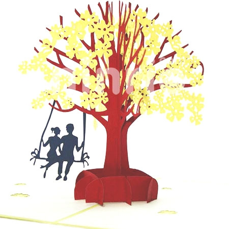 LOVERS IN A DOGWOOD-3D CARD/POPUP CARD/LOVE AND WEDDING CARD