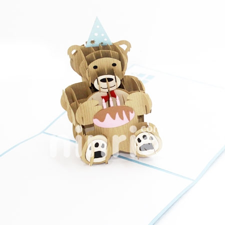 BIRTHDAY BEAR-3D CARD/POPUP/BIRTHDAY CARD