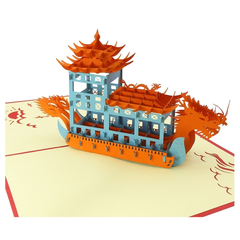 DRAGON BOAT - 3D POP UP CARD/ GREETING CARD/ CONGRATULATION CARD