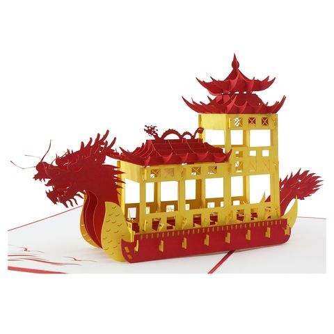 DRAGON BOAT-3D CARD/POPUP/CONGRATULATIONS CARD/GREETING CARD/ BIRTHDAY CARD