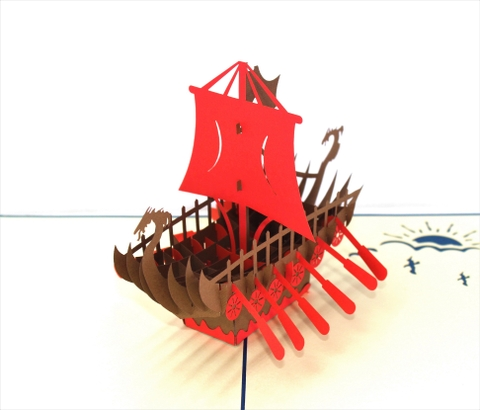VIKING SHIP-3D CARD/POPUP/CONGRATULATIONS CARD/ GREETING CARD/ BIRTHDAY CARD