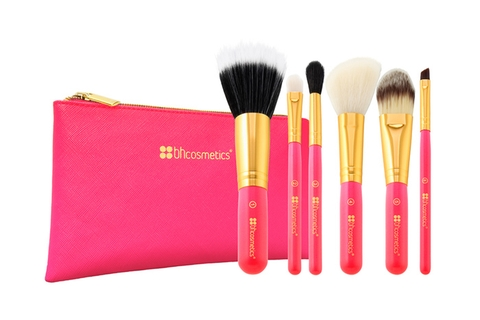 Bộ Cọ 6 cây BH Cosmetic Neon Pink - 6 Piece Brush Set with Cosmetic Bag