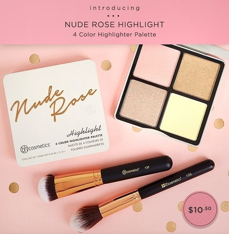 Phấn Hight Light BH Cosmetic Nude Rose Highlight – 4 Color Highlight Palette