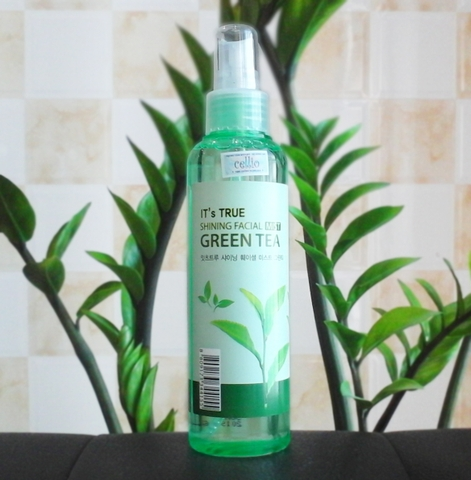 Xịt khoáng CELLIO It's True Shining Facial Mist Green Tea