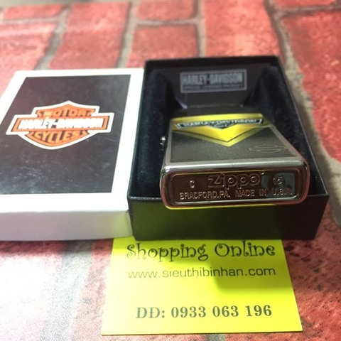 Zippo Harley Davidson Yellow Black Brushed Chrome Windproof