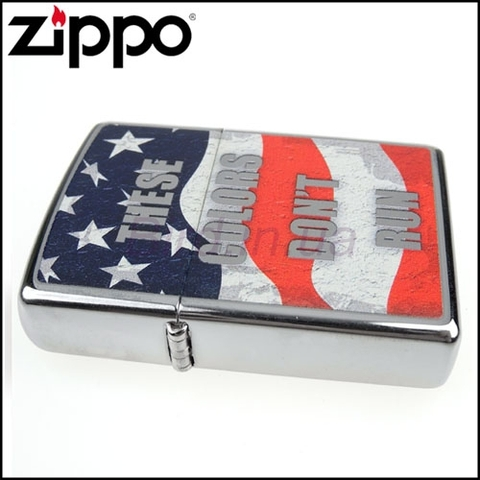 Zippo Flag These Colors Don't Run HP Chrome Lighter Flint Pack