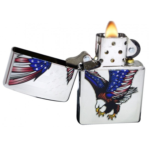 Zippo Eagle Flag High Polish Chrome