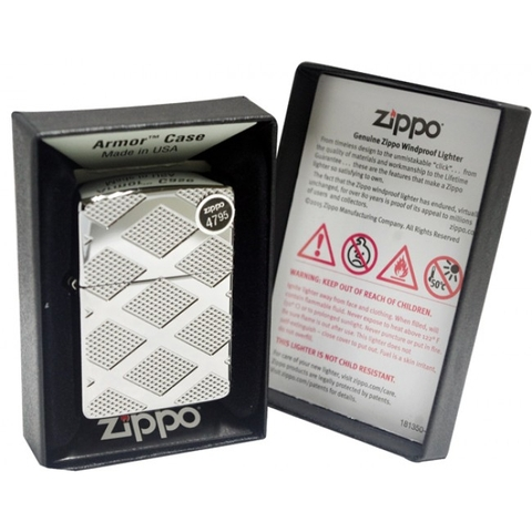 Bật Lửa Zippo Armor Carved Chrome Diamond High Polished Chrome