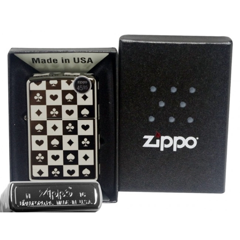 Zippo Card Suits Black Ice
