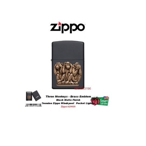 Bật Lửa Zippo Three Monkeys Brass Emblem Lighter