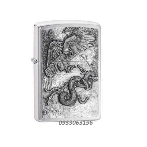 Zippo Eagle Versus Snake Emblem Brushed Chrome Lighter