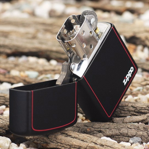 Zippo Black Matte With Logo And Border