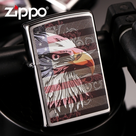 Zippo Eagle Flag Brushed Chrome