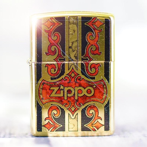 Zippo Logo Fusion High Polish Brass Finish Lighter Flint Pack