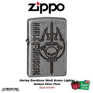 Zippo Harley-Davidson® HD Skull Antique Silver Plate Lighter