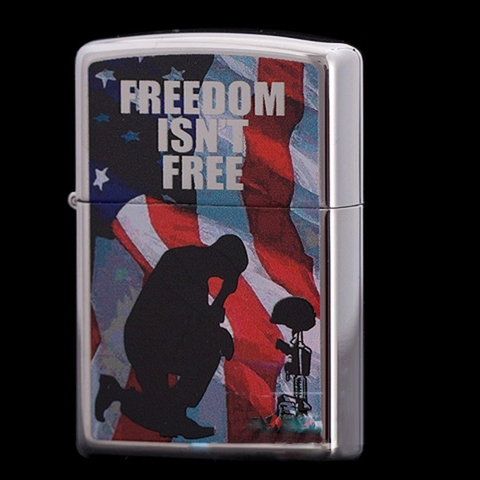 Zippo Freedom Isn't Free High Polish Chrome Finish